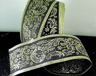 Black Trim with Gold Metallic Paisley - Renaissance Faire - Victorian