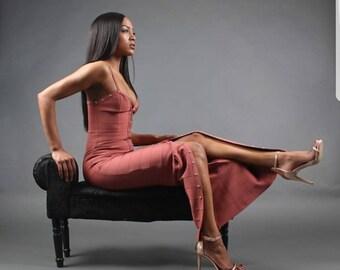 Long thigh split dark pink bandage dress