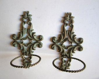 antique Victorian bronze pair of wall hanging toothbrush cup towel holders, bathroom decor