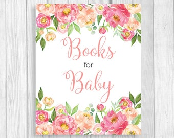 Books for Baby 5x7, 8x10 Printable Girl's Baby Shower Sign - Coral and Pink Watercolor Peonies - Book Gift Table - Instant Download