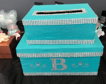 2 Tier Rhinestone Turquoise Card Box with Initial