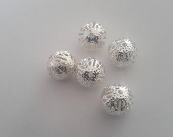 set of 5 Silver round beads filigree 10mm