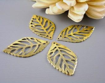CHARM-GOLD-LEAF-23.5MM - 20 pcs of 14k Gold Plated Leaf Charms, 23.5mm