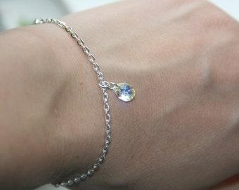 Swarovski Crystal Bracelet bridal wedding bracelet bridesmaid gift prom party Swarovski crystal mini 8 mm pear pendant