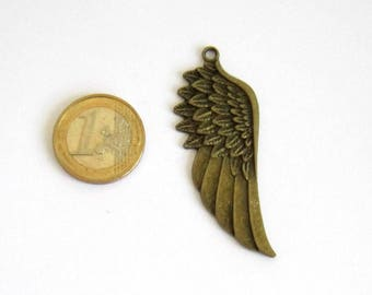 Wing pendant bronze 58 x 22 mm, pendant bronze angel wing, wing pendant, Bohemian, boho, elven