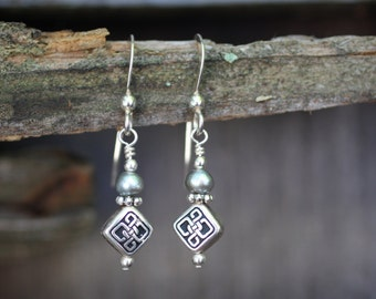 Celtic Knot Earrings with Freshwater Pearls on Sterling Silver Ear Wires