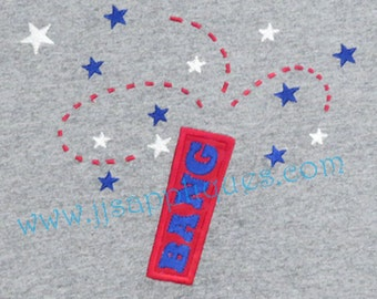 4th of July Embroidery Applique Design - Bang 4th of July digitized embroidery applique design 4x4, 5x7, 6x10 hoops Instant Download
