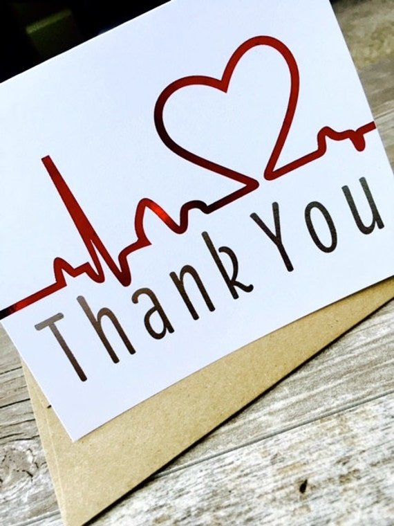 nurse thank you card    healthcare note card  metallic thank