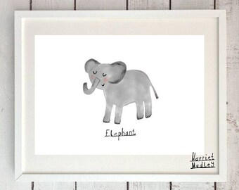Elephant Cute Print Illustration Home Decor Nursery Art