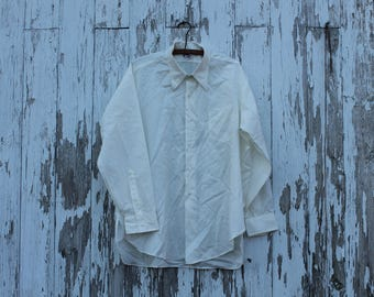 1940s long sleeve oxford, dress shirt, button up, collared shirt, off white, ivory, dupont orlon, van heusen, extra large, pocket, plus size