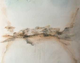 """Original abstract watercolor landscape Minimal composition """"Connecting Horizon 2"""" Earth tones Rust Grey Brown Pink Red Pastel blue 11""""x15"""""""