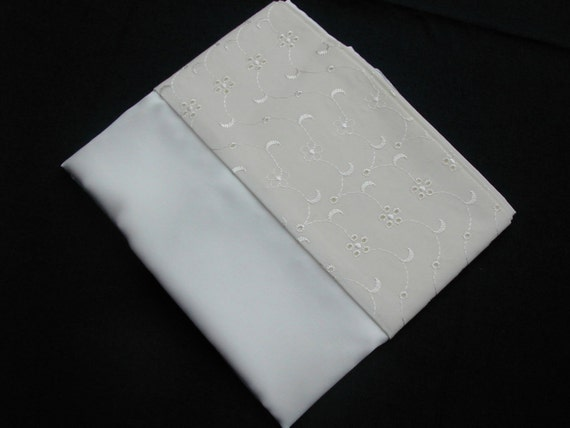 mulberry silk charmeuse silk pillowcase with broderie anglaise border. (pair)