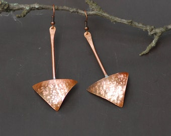 Textured Copper Hand Hammered Handmade Copper Earrings Wire Wrapped Copper Jewelry For Women Copper Jewelry Handmade Wire wrapped Earrings