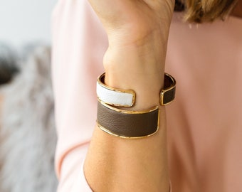 metal and leather cuff