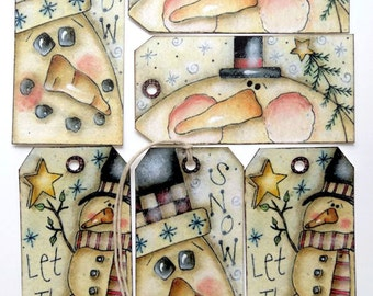 Whimsical Mixed Snowman Christmas Gift or Scrapbook Tags #T 13
