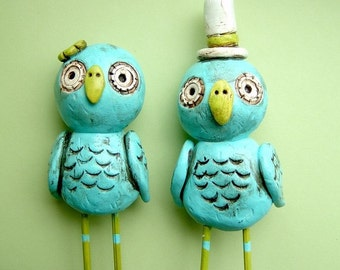 Turquoise and Apple Green Owls wedding cake topper