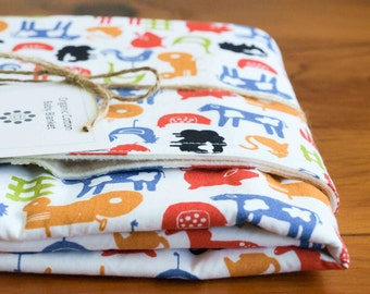 Baby Blanket Sale; Farm Animals, Tractors Stroller Blanket Gift, Organic Receiving Blanket, Handmade in Canada; Newborn Baby Gift, FARMYARD