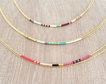 Minimalist Delicate Gold Double Necklace with Tiny Beads / Thin Layering Boho Necklace / Colorful & Simple Beaded Chain Necklace