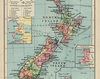1930s Antique Vintage NEW ZEALAND original coloured atlas map aqua blue ocean framing