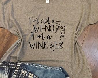 I'm not a Wi-no, I'm a wine-yes- Bella Canvas Racer back tank -Funny wine shirt, wine lover gift, funny wine gift, funny wine tank, wine tee