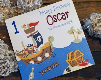 Personalised Birthday Age Card - Pirate Ship Design P16-71
