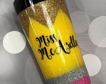 Pencil Glitter Tumbler/Pencil Glitter Cup/Pencil Glitter YETI/Pencil Teacher Cup