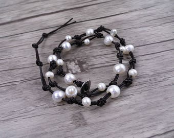 3 wraps bracelet pearl beads bracelet leather beaded bracelet waterfresh pearl barcelet women bracelet pearl jewelry SL-0516