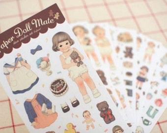Vintage Paper Doll Mate Stickers (6 sheets) // Die Cut Stickers // Planners //  Laptop Stickers  // Scrapbooking Essentials