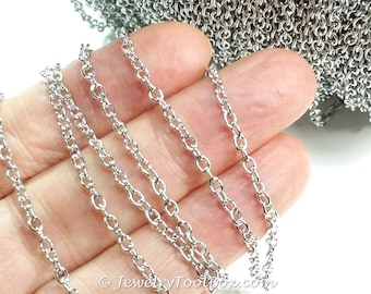 Iron Cross Chain, Platinum Silver Color, Cable Rolo, 3x2x0.5mm Oval Open Links, 0.5mm Thick, 5 to 20 Feet, #2904 P