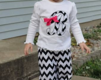 Personalized chevron pants outfit with matching bow