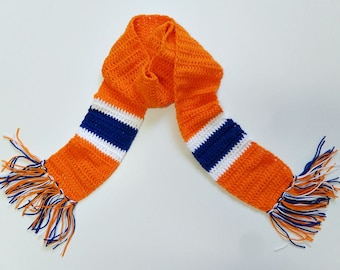 Sports Scarf Orange-White-Blue/Crochet
