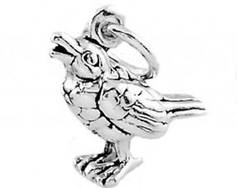 Sterling Silver Calling Bird Crow Charm Pendant (3D Charm)