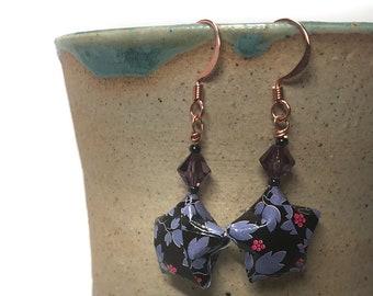 Origami Jewelry, Black star earrings, Purple crystal. HedgehogStars Jewelry