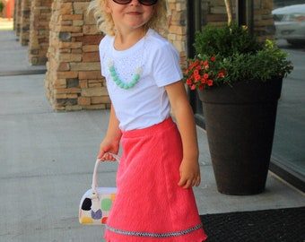 Pink Skirt - Shorts Included - Modest Girls - Dress Up - Fancy Play Clothes - Textured Fabric - Cute - Silver or Gold Trim - No Wrinkles