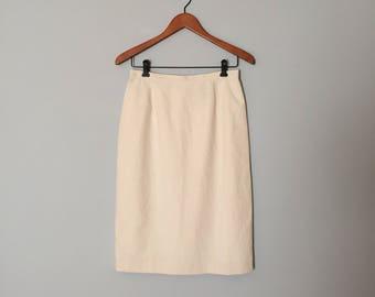 seersucker mini pencil skirt | micro striped nude skirt | cotton seersucker skirt