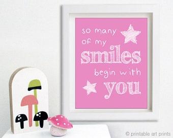 So many of my smiles print, wall art, printables, instant download, nursery wall art, nursery art. pink nursery decor 5x7 8x10 11x14