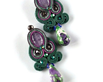 Soutache earrings, Soutache jewelry, Colorful earrings, Statement earrings, Embroidared soutache, Gift for her, Gift for women Dori Csengeri