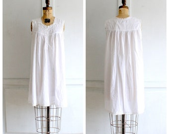 vintage white cotton lace nightgown Victorian style slip dress