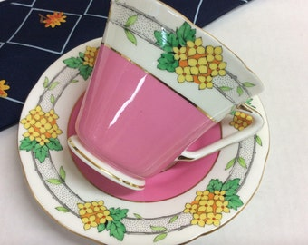 Grafton AB Jones and Sons, England Art Deco Pink Tea Cup and Saucer