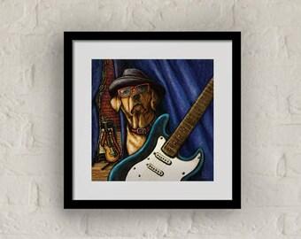 """Framed """"Rockin' Lab"""" Print Labrador Retriever Art 16""""x16"""""""