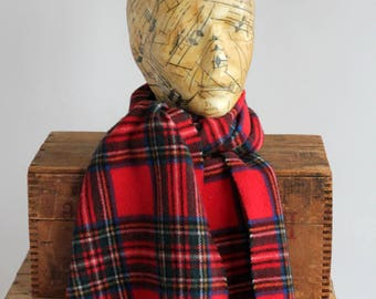 Vintage Scottish Woven Scarf Shawl Red Green Yellow Blue Tartan Plaid Clan Glentana made in Italy pure wool lambswool the bay