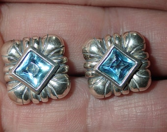Scalloped Blue Topaz  square Post Earrings in Sterling Silver