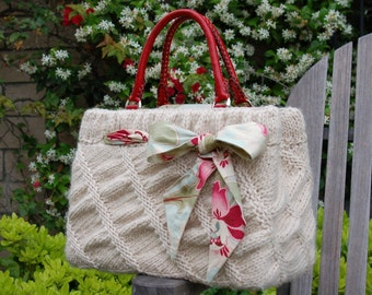 Oblique Ruched Bag PDF Knitting Pattern Instant Download (ENGLISH ONLY)