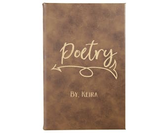 Poetry Book, Poetry Journal, Personalized Journal, Poetry Notebook, Engraved Leather, Leather Journal, Poetry, Poems --28358-LJ05-042