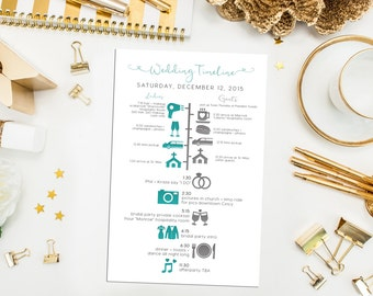 Printable Bridesmaids and Groomsmen Wedding Timeline. Custom Wedding Schedule of Events. Gold Wedding Timeline. Wedding Party Timeline. Icon