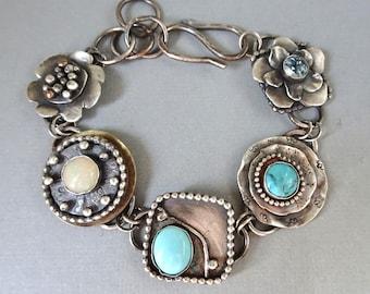 Sterling Silver Bracelet / Turquoise Opal Topaz Multi Stone Bracelet / Oxidized Metal  / Handcrafted Jewelry / Gift for Women