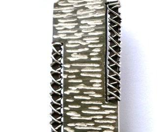 Silver hammered Pendant - Silver Square Pendant - Handmade Pendant - Rustic Pendant - Oxidised Jewelry - Silver Pendant - Necklace Jewelry