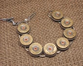 Shotgun Casing Jewelry - Bullet Jewelry - Winchester 28 Gauge Shotgun Shell Bracelet - Skeet, Trap, Hunting - Bullet Designs