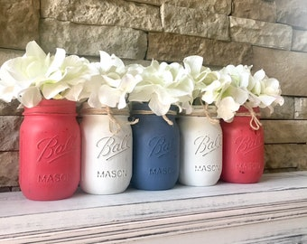 Mason Jar Centerpieces Patriotic, 4th of july decor, 4th of july mason jar, 4th of july mantle decor, fourth of july decorations