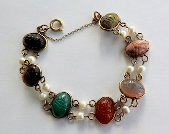 Gold Filled Carved Stone Scarab and Pearl Bracelet